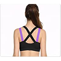 GLAMORAS Women's Padded Full Coverage Quick Dry Padded Cross Back Sports Bra with Removable Soft Cups for Gym, Yoga…