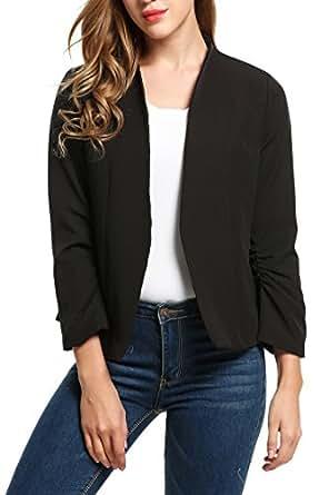 Meaneor Womens Casual Work Office Open Front Cardigan Blazer Jacket Black/S