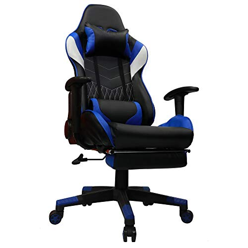 Kinsal Gaming Office Chair with Footrest Game Racing Ergonomic Backrest and Seat Height Adjustment Computer Chair with Pillows Recliner Swivel Headrest and Massage Lumbar Tilt E-Sports Chair (Blue) Kinsal