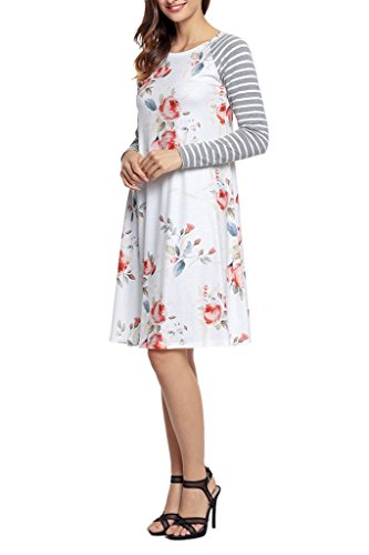 cf61354f6b279 HOTAPEI Women s Floral Print Casual Long Sleeve A-line Loose T-shirt  Dresses Knee Length