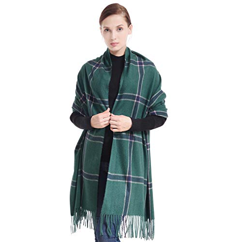 LERDU Ladies Gift Idea Cashmere Tartan Pashmina Scarf Trendy Green Tartan Warm Wool Wrap Shawl Winter Stole for Women