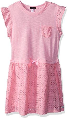 kensie Little Girls' Casual Dress, Flutter Sleeve Slub Printed Prism Pink, 6X (Kensie Girl Printed)