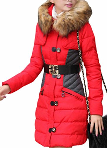 Parka Outerwear Coat UK Winter Hooded Faux Women's Fur today Red Belted 8gPwq