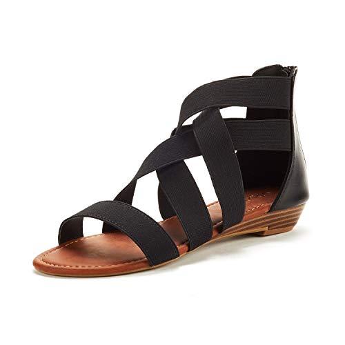 DREAM PAIRS Women's Elastica8 Black Elastic Ankle Strap Low Wedges Sandals Size 11 M US