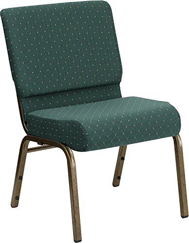 HERCULES Series 21'' Extra Wide Stacking Church Chair with 4'' Thick Seat Hunter Green Dot Patterned/Gold Vein Frame by Flash Furniture