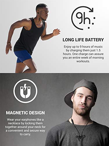 Diginex Bluetooth Earbuds Wireless Magnetic Headset Sport Earphones for Running IPX7 Waterproof Headphones 9 Hours Playtime High Fidelity Stereo Sound and Noise Cancelling Mic 1 Hour Recharge – Black by Diginex (Image #4)
