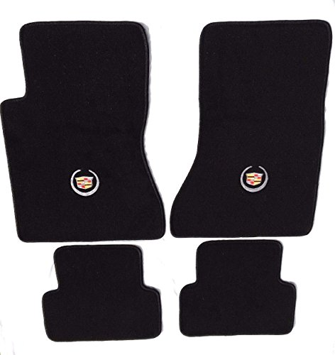 Cadillac CTS Black Carpet Floor Mats 4Pc-Licensed Cadillac Crest Logo -fits 2003 04 05 06 2007