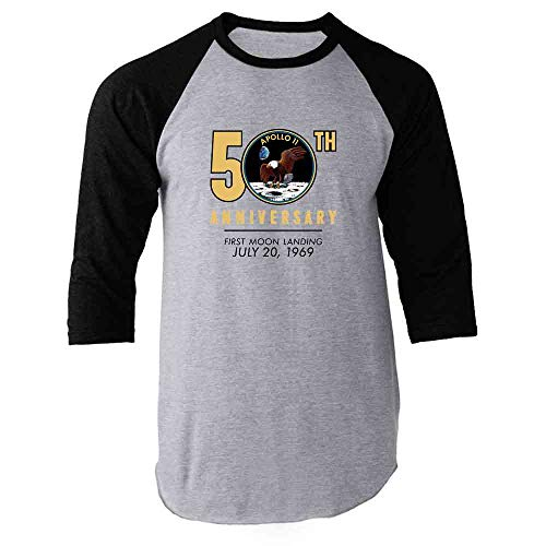 NASA Approved Apollo 11 Moon Landing 50th Black 2XL Raglan Baseball Tee Shirt