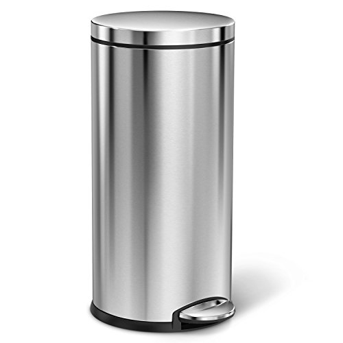 simplehuman 35 Liter/9.3 Gallon Stainless Steel Round Kitchen Step Trash Can, Brushed Stainless Steel