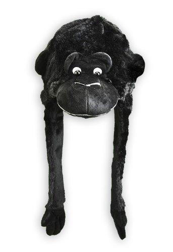 Gorilla Mütze - schwarz, mit Gorillakopf aus Velourplüsch