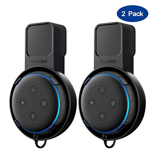 [2 Pack] Proud Bird Wall Mount Outlet Holder Hanger for Echo Dot 3rd Gen and JBL, Xiao Du, DingDong, Mi Ai, Sound Enhanced for Your Smart Home Speaker with Wire Saving Function