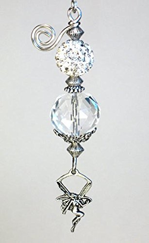 Beautiful Glimmering Winged Fairy Angel Faceted Glass & Silvery Faux Rhinestone Ceiling Fan Pull/Light Pull Chain
