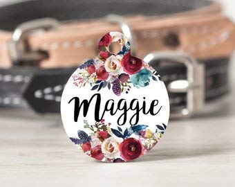 QM - Rustic Pet Tag, Navy and Maroon Boho Cat Tag, Floral Bohemian Dog Tag,  Navy and Red Dog Tag, Custom Pet Name Tag, Metal Stethoscope Id Tag