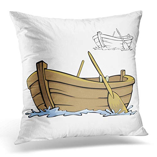 Emvency Throw Pillow Cover Clipart White Row Boat Cartoon Rowboat Wood Wooden Sea Decorative Pillow Case Home Decor Square 18