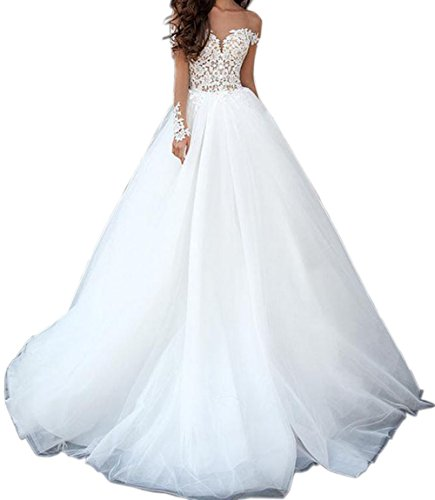 Sayadress Women's V-back Scoop Sheer Long Sleeves Empire Beach Wedding Dress with Puffy Skirt White US2 by Sayadress