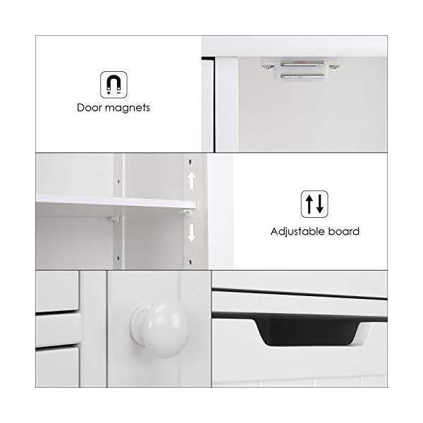 Homfa Campagne Meubles de Rangement Commode Armoire Blanche pour Salle de Bain (Blanc 4 Tiroirs 1 Porte)