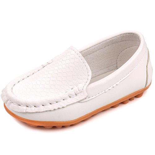 Femizee Casual Toddler Kid Boys Girls Loafers Shoes,White,1301 CN 26