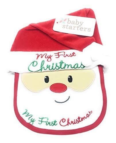 Baby Starters My First Christmas Santa 2 Piece Hat & Bib Set -