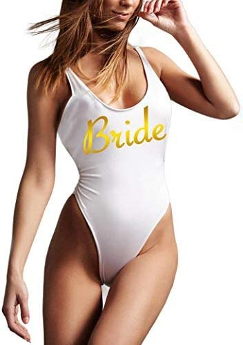 Bride Swimsuit Bridal Swimsuit High Cut Swimsuit I Said Yes One-Piece Swimsuit Bridal Party One-Piece Swimsuits Bride One-Piece