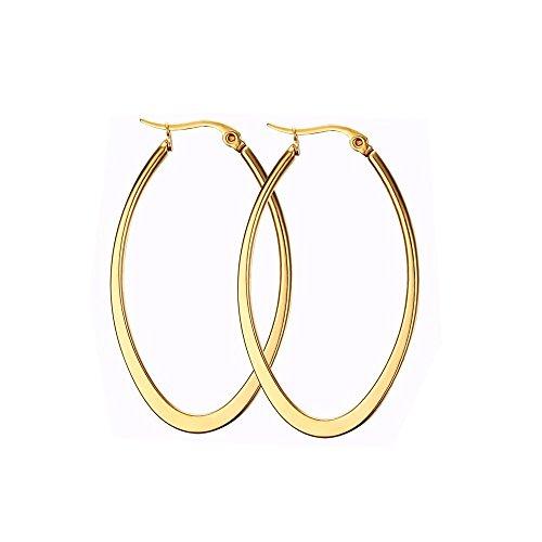 Teardrop Oval Hoop Earrings for Women Girls Gold Rose Gold Black Huggie Hoops 40mm 50mm(2