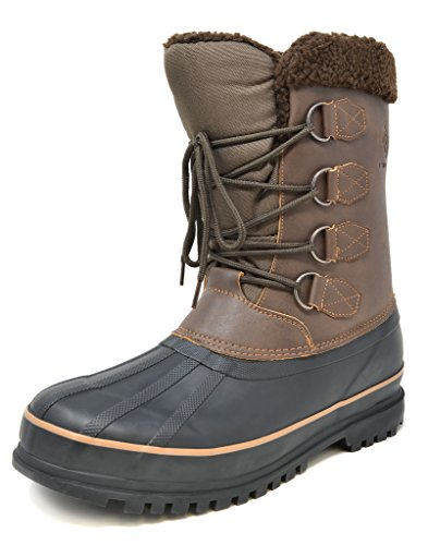 DREAM PAIRS Men's Terrain-2 Brown Insulated Waterproof Winter Snow Boots Size 8 M US
