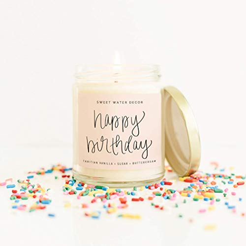 Sweet Water Decor, Happy Birthday, Vanilla, Sugar, and Buttercream Sweet Scented Soy Wax Candle for Home | 9oz Clear…