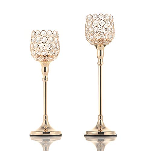 VINCIGANT Pack of 2 Gold Pillar Candle Hoders/Candlesticks Centerpieces for Wedding Party Dinner Centerpiece Decoration (Beaded Holder Candle)