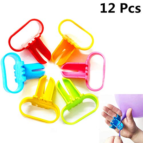 Xinhongo Balloon Tie Tool-12pcs Balloon Tying Knot Tool Device Party Birthday Wedding Supplies Balloon Tie Accessory for Helium Tanks,Column Arc,Knotting Faster and Save Time(6 Colors)]()