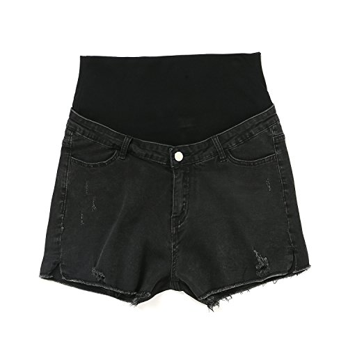 JOYNCLEON Maternity Shorts Pants Denim Fold Over Waistband Pregnancy Short Hole Jeans for Pregnant Women (Label XL fit US 8-10 Hip 38.94, Black) by JOYNCLEON