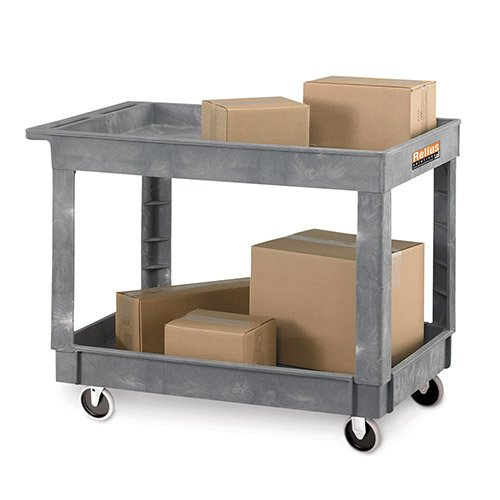 "Relius Solutions Commercial Service/Utility Cart, 500 Pounds Capacity, 30"" W X 16'' D with 2 Lipped Shelves, 5'' casters, 3 Year Warranty, Made in USA - Gray"