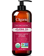 USDA Organic Jojoba Oil 500ml with Pump 100% Pure | Bulk Natural Cold Pressed Unrefined Hexane Free Oil for Hair & Face | Base Carrier Oil - Certified Organic | Cliganic 90 Days Warranty