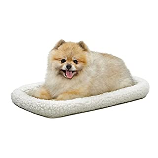 22L-Inch White Fleece Dog Bed or Cat Bed w/ Comfortable Bolster | Ideal for XS Dog Breeds & Fits a 22-Inch Dog Crate | Easy Maintenance Machine Wash & Dry | 1-Year Warranty