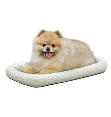 (22L-Inch White Fleece Dog Bed or Cat Bed w/ Comfortable Bolster | Ideal for XS Dog Breeds & Fits a 22-Inch Dog Crate | Easy Maintenance Machine Wash & Dry | 1-Year Warranty)