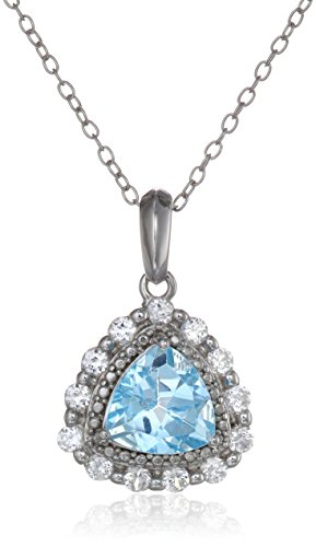 Sterling Silver Trillion-Shape Gemstone and Created White Sapphire Pendant Necklace, 18