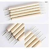 Start here 5 pcs Wood Wooden Beige Nail Art Dot Painting Dotting 2 ways Pen Tips DIY Tool