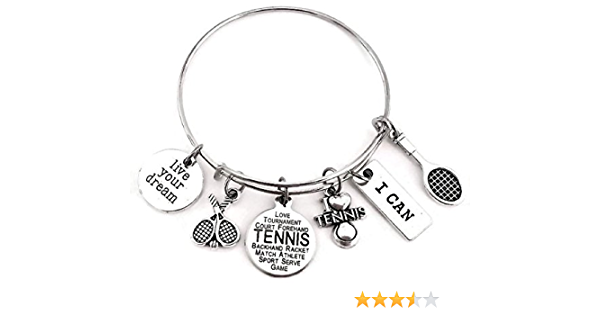 racquet player gift sports fan racquetball bracelet racquet charm Playful tennis racquet leather bracelet paddle bracelet