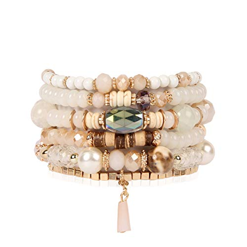 RIAH FASHION Bead Multi Layer Versatile Statement Bracelets - Stackable Beaded Strand Stretch Bangles Sparkly Crystal, Tassel Charm (Crystal Bead Mix - Natural)
