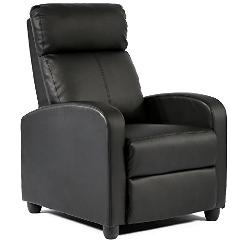 FDW Wingback Recliner Chair Leather Single Modern Sofa Home Theater Seating for Living Room Black (Living Room Chairs Big For People)