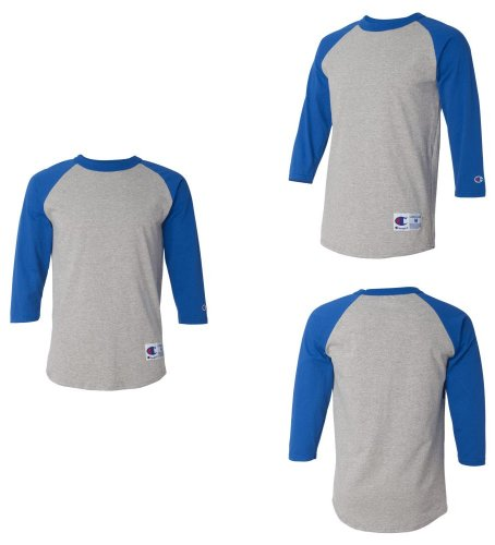 817b3174d03 picture of Champion T137 Mens 3 4 Sleeve Raglan Baseball Jersey T-Shirt S