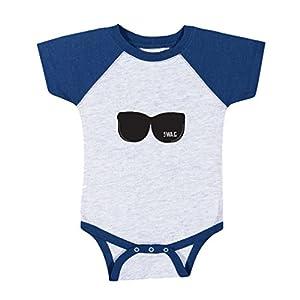 Black Sunglasses Dark Grey Text Swag Baby Baseball Raglan Bodysuit Gray/Royal Blue 6 Months