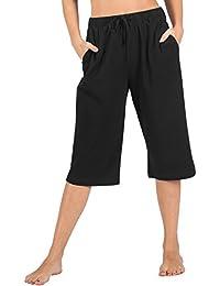 8d6113308dc 100% Cotton Women Pajama Capri Pants Lounge Pants with Pockets Sleepwear