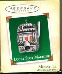 Hallmark 2005 Mini Ornament LUCKY SLOT MACHINE - DIE-CAST METAL Really Works!