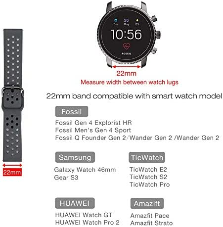 Abanen Watch Band for Fossil Gen 4 Explorist,22mm Soft Silicone Sport Waterproof Quick Release Wristband Strap for Fossil Gen 5 Carlyle/Julianna/Garrett,Fossil Hybrid,Samsung Galaxy Watch 46mm(Grey) 41oCYO0jgbL
