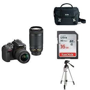 Nikon D3400 w/ AF-P DX NIKKOR 18-55mm f/3.5-5.6G VR & AF-P DX NIKKOR 70-300mm f/4.5-6.3G ED (Black) + 16GB Memory Card, Bag and Tripod