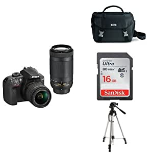 Nikon D3400 w/ AF-P DX NIKKOR 18-55mm f/3.5-5.6G VR & AF-P DX NIKKOR 70-300mm f/4.5-6.3G ED (Black) + 16GB Memory Card, Bag and Tripod