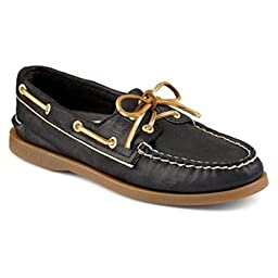Sperry Top-Sider Women\'s A/O Black/Gold Piping Boat Shoe 11M