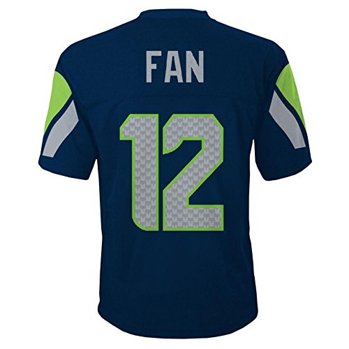 Seattle Seahawks Jersey (Seattle Seahawks 12th Fan NFL Youth Mid-Tier Team Jersey Navy (Youth Medium)