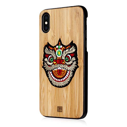 Sub wood Chinese Style Natural Bamboo case for iPhone X XS Max XR/iPhone 7/7plus 8/8Plus 6/6Plus Unique Hand Embroidery + Bamboo + PC case (Lion Dance, for iPhone Xs MAX)