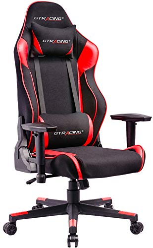 (GTRACING Mesh Gaming Chair Racing Chair Backrest and Seat Height Adjustable with Pillows Recliner Swivel Rocker Tilt E-Sports Chair GT101-Red)