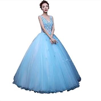JKJHAH Boda De Color Vestidos De Fiesta Vestidos De Fiesta De Moda, Azul Claro,